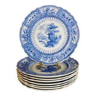 Antique Blue and White Staffordshire Plates - Set of Eight For Sale