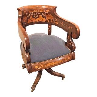 1920 Dutch Walnut and Marquetry Inlaid Desk Chair