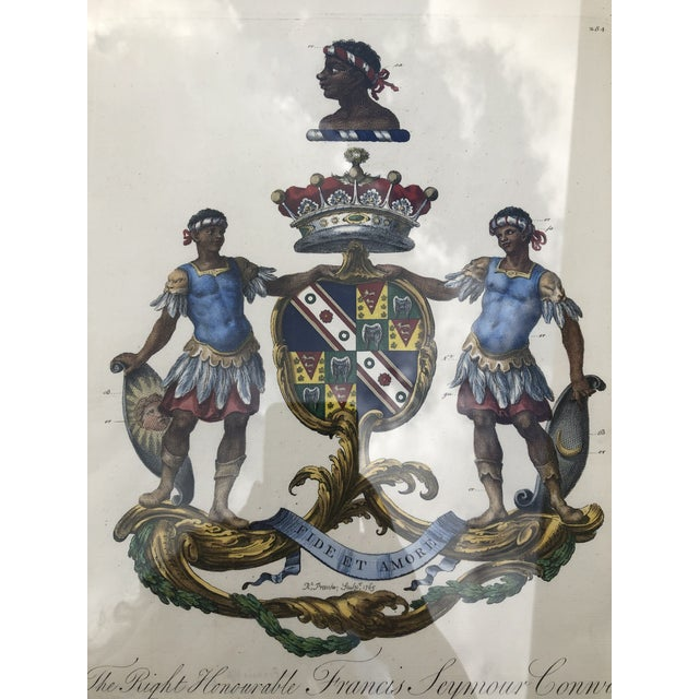 English Framed Antique Engravings of Francis Seymour-Conway and George Lytteltons' Coat of Arms - a Pair For Sale - Image 3 of 13