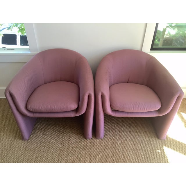 Carter Sculptural Mauve Lounge Chairs - A Pair - Image 6 of 7
