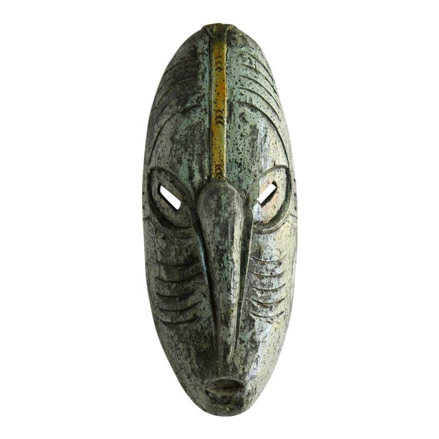 Vintage African Solid Wood Stained Teal and Gray Mask For Sale