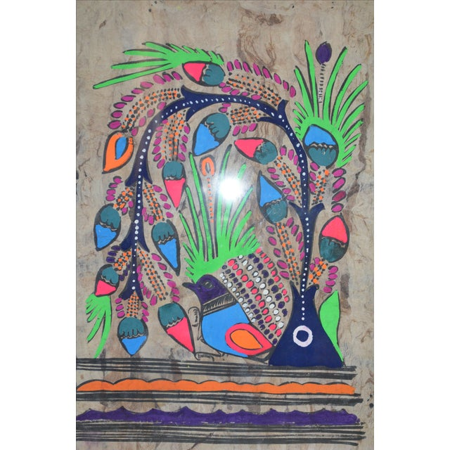 Otomi Mexican Folk Art Amate Painting - Image 6 of 9