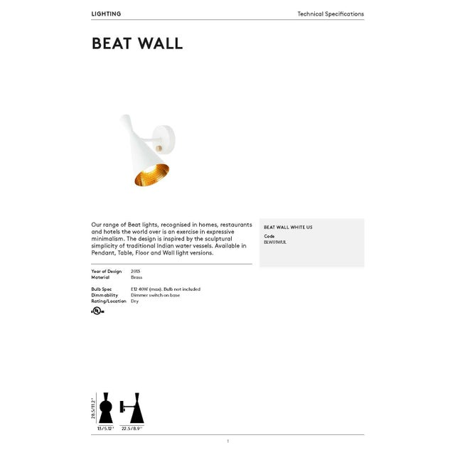 Metal Tom Dixon Beat Wall Light in White For Sale - Image 7 of 9