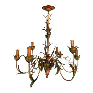 Daintly Floral Painted Iron Chandelier For Sale