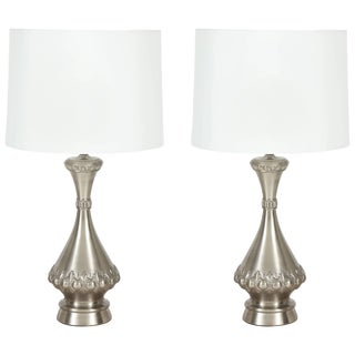 1950s Brushed Nickel Lamps by Westwood Industries - a Pair For Sale