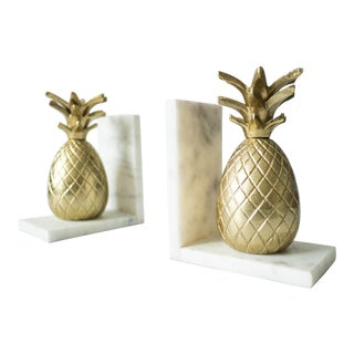 Vintage Brass and Marble Pineapple Bookends - a Pair For Sale