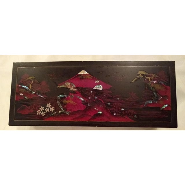 Chinoiserie Antique French Black Lacquered Jewelry Musical Box For Sale - Image 3 of 10