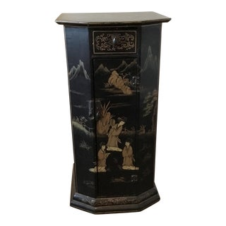 Black Japanned Wood Petite Cabinet Table With Gilt For Sale