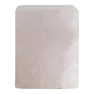 Polished Rose Quartz Block For Sale