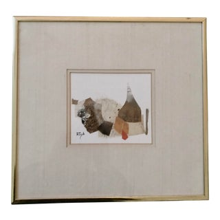 1970s Original Abstract Still Life # 28 Mixed Media Collage Signed Rizk Romanos For Sale