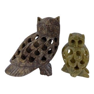 Vintage HandCarved Stone Owls- a Pair For Sale