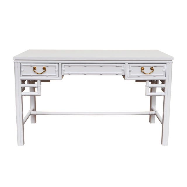 Classic Bamboo Style Desk And Chair Freshly Professionally Lacquered High Gloss White With A Marine