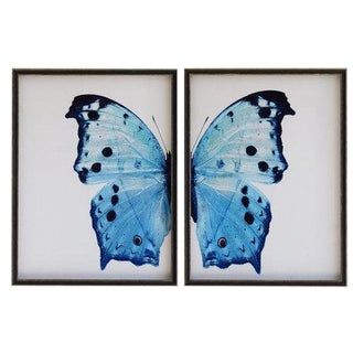 "Pale Blue Butterfly With Navy Spots - 38"" X 25"" For Sale"