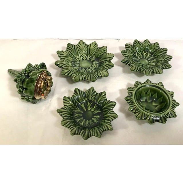 Green Vintage Ceramic Christmas Tree Smoking Set For Sale - Image 8 of 11