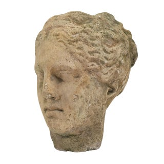 Antique Stone Bust of Greek Goddess Athena For Sale