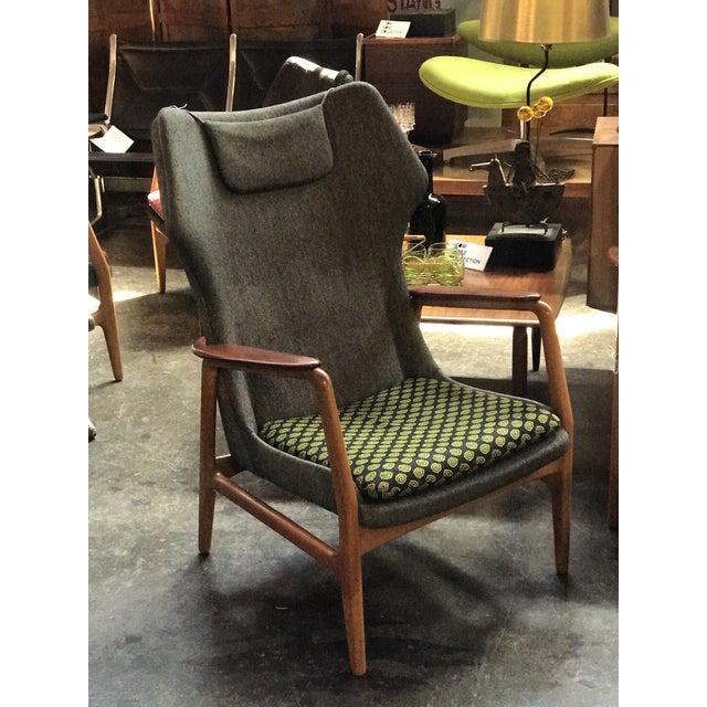 1960s Bender Madsen Upholstered Teak High Boy Lounge Chair For Sale - Image 5 of 5