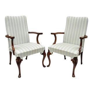 Vintage Mid-Century Queen Anne Style Hickory Chair Co Armchairs - A Pair For Sale