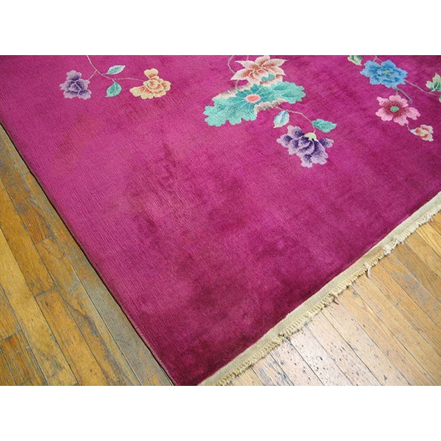 Art Deco 1930s Antique Chinese Art Deco Rug-9′ × 11′3″ For Sale - Image 3 of 6