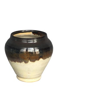 Modern Two Tone Pottery Vase For Sale