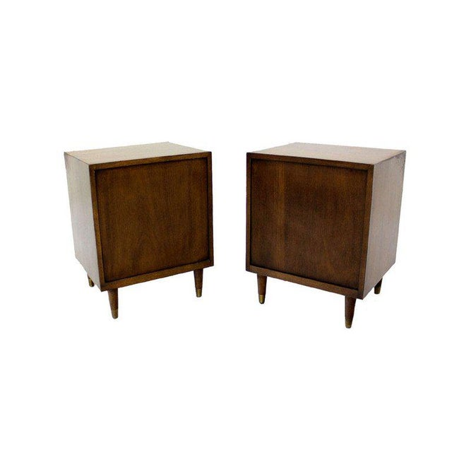 Pair Johnson Mid Century Modern Walnut Night Stands End Table For Sale In New York - Image 6 of 8
