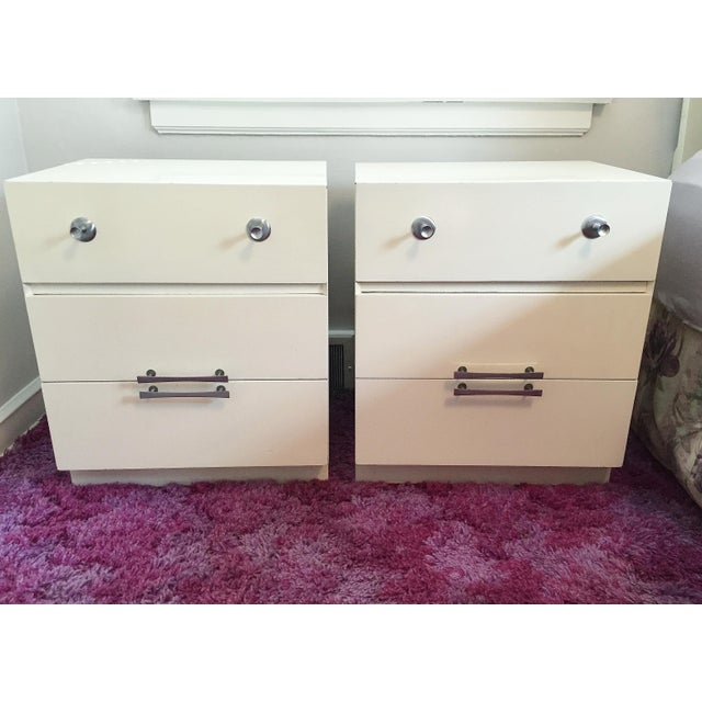 Mid-Century White Lacquer Nightstands - a Pair - Image 2 of 9