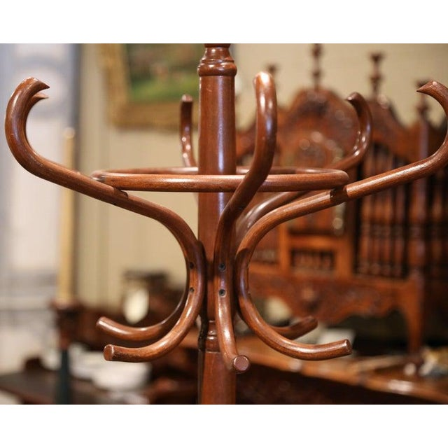 Mid 20th Century Mid-20th Century French Bentwood Swivel Coat Stand or Hat Rack Thonet Style For Sale - Image 5 of 7