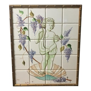 1950s Italian Cherub Tile Painting in Faux Bamboo Giltwood Frame For Sale