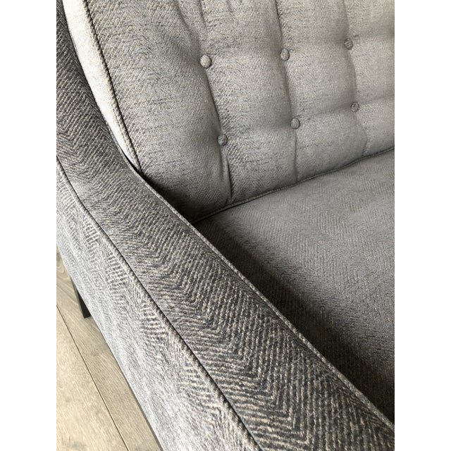 Gold Modern Gray Upholstered Sofa For Sale - Image 8 of 9