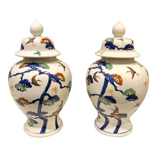 Chinoiserie Porcelain Ginger Jars, Pair For Sale