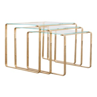 1970s Midcentury Brass and Glass Nesting Coffee Tables - Set of 3 For Sale