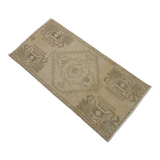 Distressed Low Pile Turkish Yastik Petite Rug Low Pile Faded Mat - 19'' X 38'' For Sale