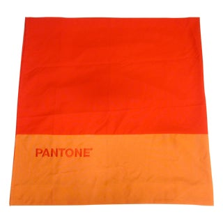 Two Pantone Block Orange Curtains