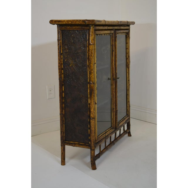 Asian 19th-Century Bamboo/Chinioserie Bookcase For Sale - Image 3 of 8