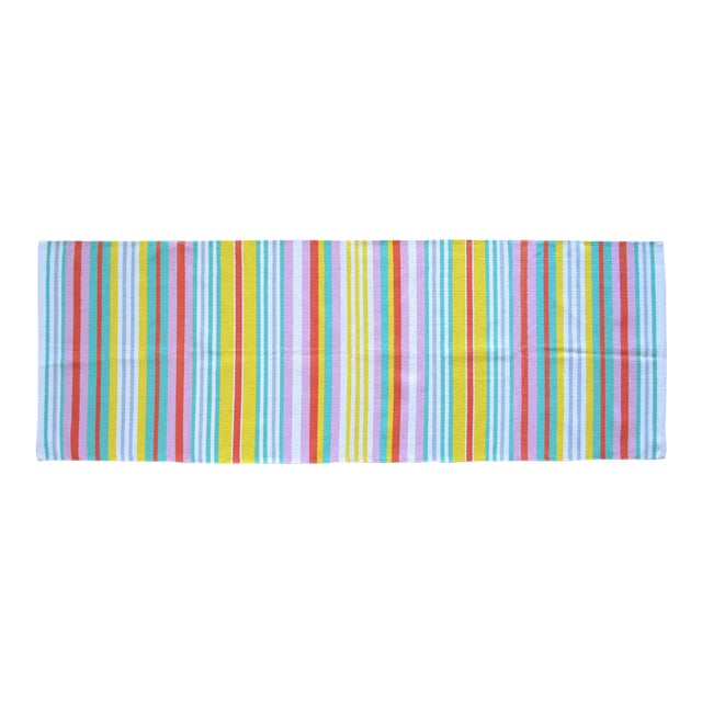 Hand-Made Rug Striped Zara Home Cotton Runner Rug - 2′4″ × 6′8″ For Sale