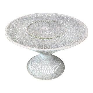 Spun Fiberglass Round Cone Shape Base Outdoor Dining Table Woodard For Sale