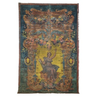 19th Century French Painted Aubusson-Style Tapestry Cartoon on Canvas For Sale