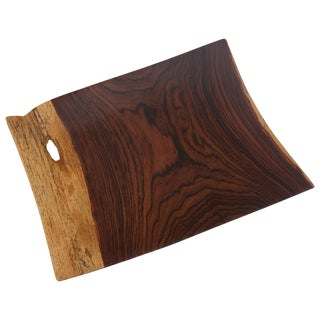Artisan Wood Tray in Exotic Cocobolo Heartwood For Sale