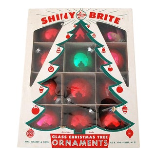 1960s Glass Ball Christmas Ornaments - Set of 12
