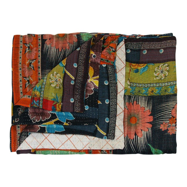 Vintage Orange Floral & Black Kantha Quilt - Image 2 of 3