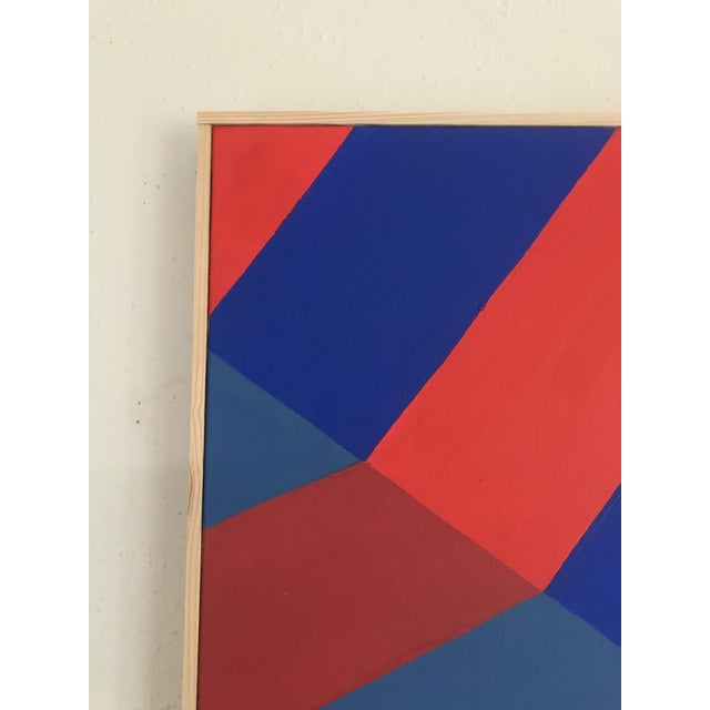 Abstract Original Abstract Hard Edge Op Art Painting on Canvas by J. Marquis For Sale - Image 3 of 6