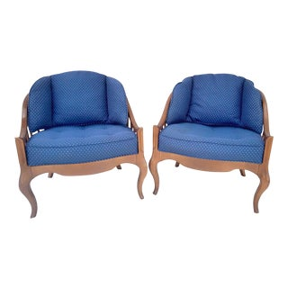 1960s French Provincial Drexel Walnut Tub Chairs - a Pair For Sale