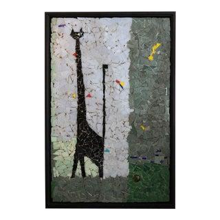 Vintage Modernist Black Cat Mosaic Artwork Framed For Sale