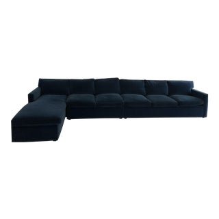 Carlyle Sapphire Blue Velvet Sectional For Sale