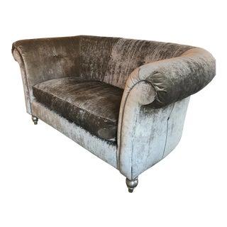 Designers Own Custom Linen Velvet Sofa For Sale