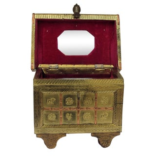 Vintage Brass, Velvet & Wood Jewelry Box For Sale
