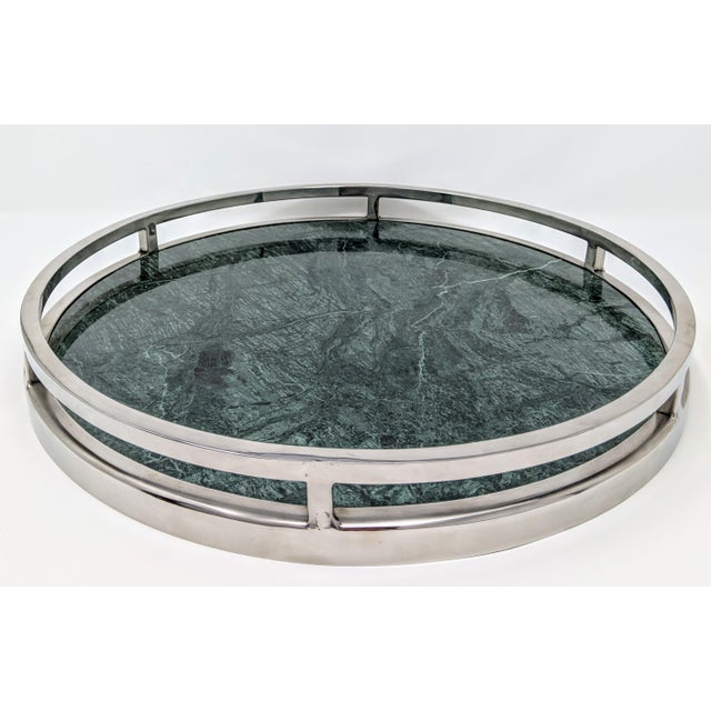 Jonathan Adler Inspired Green Marble and Chrome Serving Tray For Sale In Providence - Image 6 of 10