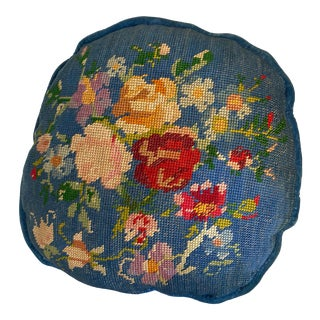 20th Century Traditional Needlepoint and Royal Blue Velvet Pillow With Bright Florals For Sale