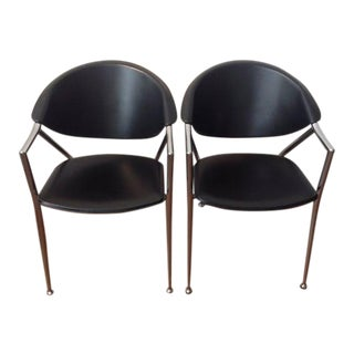 Vintage Calligaris Leather Armchairs- a Pair For Sale