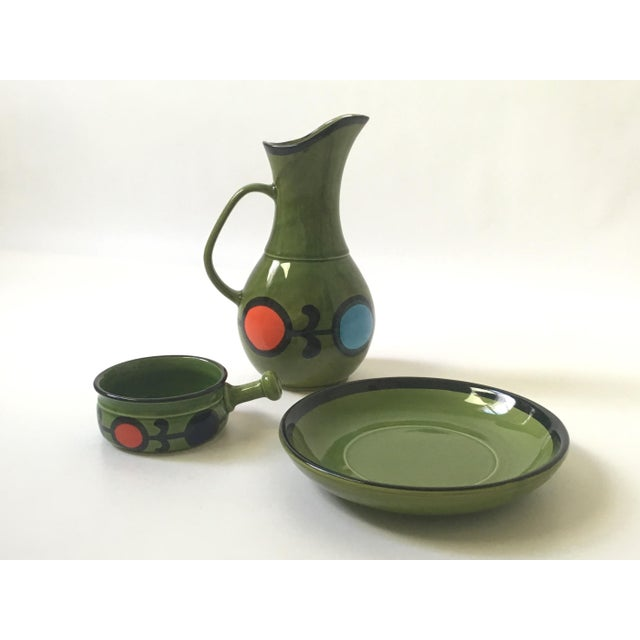 Modern 1960s Hand Painted Ceramic Pitcher & Serving Set For Sale - Image 3 of 8