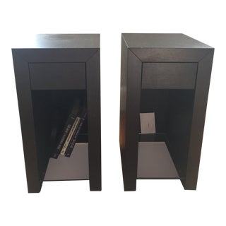 "Ligne Roset ""Cineline"" Bedside Tables in Ebony Oak Finish - A Pair For Sale"